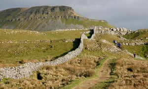 The footpath to the 694-metre hill Pen-y-ghent.