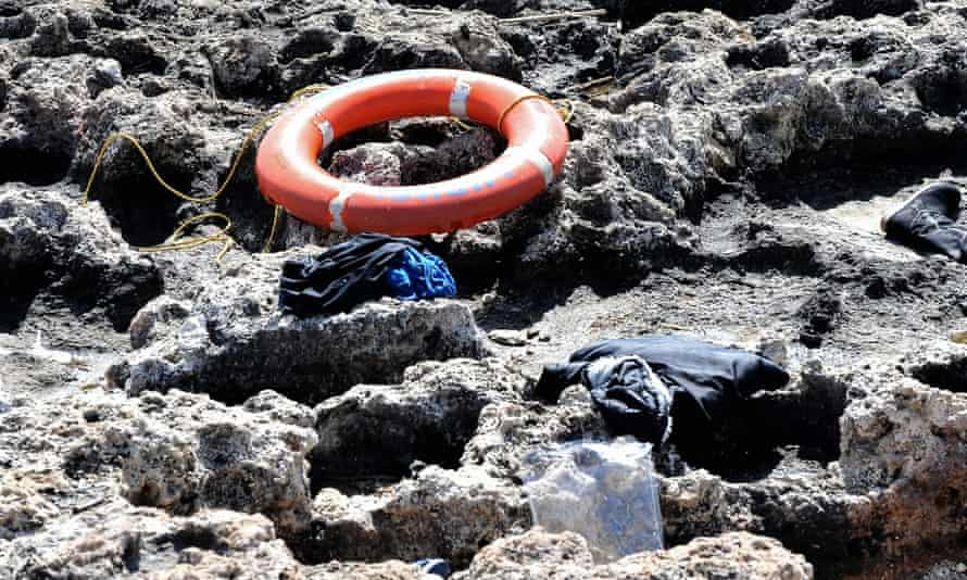 Debris washed ashore at Zefyros beach Migrant boat sinks in the southeastern Aegean Sea