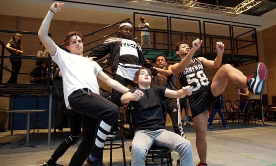 Dale White, James Okulaja, Ainsley Hall Ricketts, Sasha Gray and Jermaine Woods in rehearsals for Bugsy Malone