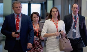 Way Ahead taskforce on the march in W1A. Photograph: Jack Barnes/BBC