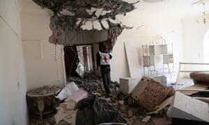 A bombed out home in Faj Attan, Sana'a, Yemen on 20 April 2015