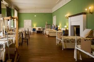 The main ward of the Stamford military hospital recreated at Dunham Massey.