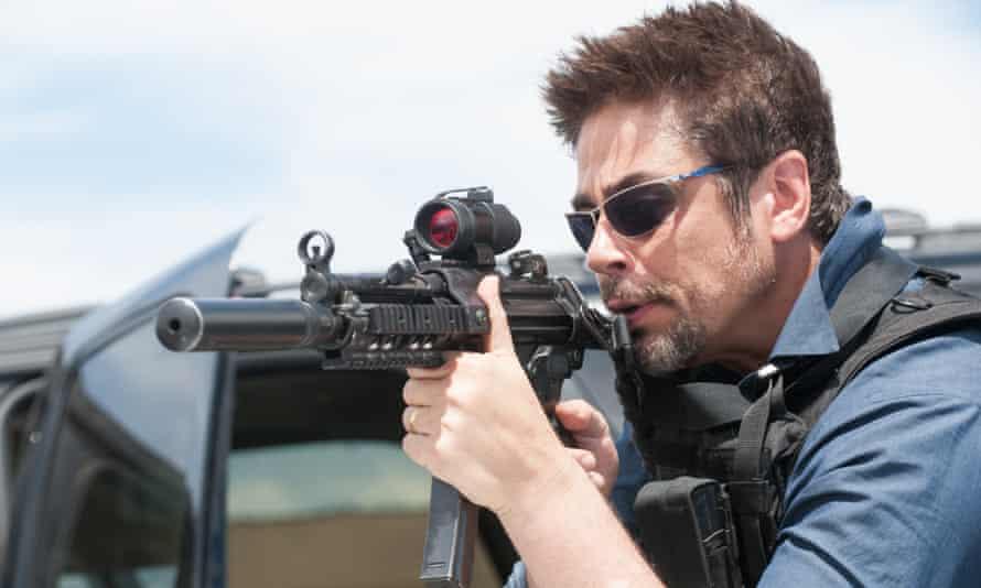 Film still from Sicario, where Benicio Del Toro plays a hired assassin