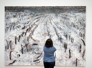 A woman looking at Kiefer's The Autumn's Whisper - for Paul Celan at Gemeentemuseum in The Hague.