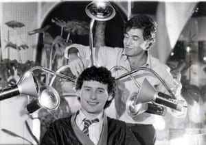 1981 Jimmy White at the hairdressers having a perm