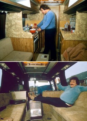 1983 Bill Werbeniuk aboard his converted coach which he lived in and used to drive between tournaments