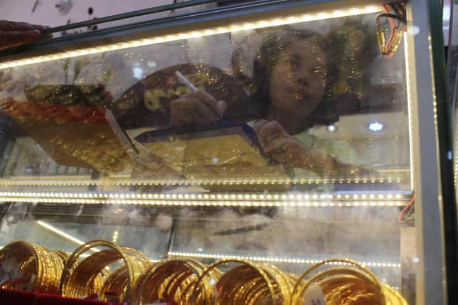 Gold shop in Rangoon, Burma