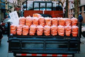 Fresh carrots! Fresh carrots seem in Shanghai. Price about a quid a bag