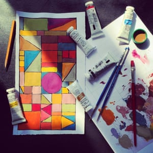 Freshly finished painting Early morning geometric painting