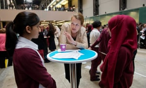 Royal Court associate director, Carrie Cracknell, talking to girls at the Inspiring Women in the Arts event at Tate Modern.