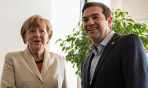 German Chancellor Angela Merkel with Greek Prime Minister Alexis Tsipras