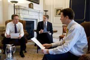David Cameron with Nick Clegg in 10 Downing Street.