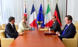 Left to right, Matteo Renzi, Angela Merkel, Francois Hollande and David Cameron during the EU summit on Thursday.
