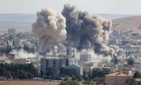 US-led air strike on Islamic State positions in Kobani, Syria, in October 2014.