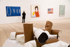 Claes Oldenburg's Giant Fagends in front of works by Malcolm Bailey, Allan D'Arcangelo, Jasper Johns and Andy Warhol.