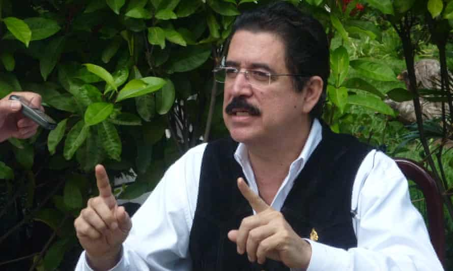 Manuel Zelaya after he was forced out of office in Honduras when he pushed to remove the single-term limit on the presidency.