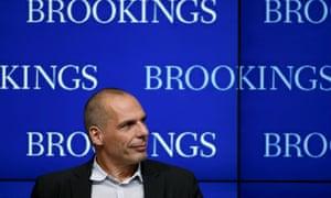 Greek finance minister Yanis Varoufakis speaks at the Brookings Institution in Washington 16 April.