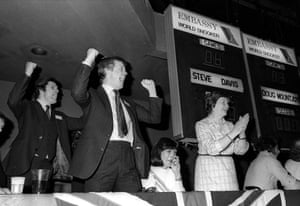 1981 Steve Davis' manager Barry Hearn, second left, and members of Davis' family and cheer his victory at the Embassy World Snooker championships at Sheffield Crucible Theatre, the first of his six triumphs