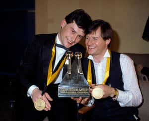 1984 Jimmy White, right, and Alex Higgins celebrate  winning the World Snooker Doubles Championship at the Derngate in Northampton