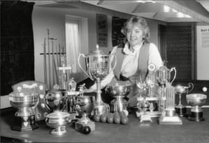 1985 Women's World Snooker Champion Allison Fisher pictured at her Peacehaven home with the 22 snooker titles she holds