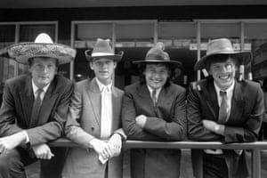 1987 Snooker stars, left to right, Steve Davis, Stephen Hendry, Jimmy White and Neal Foulds, wearing hats from countries which feature in the round the world series which spans five continents. Eight tournaments are scheduled in such exotic locations as Tokyo, Hong Kong, Rio de Janeiro and Las Vegas. The brainchild of Barry Hearn offers snooker's richest prize, £200,000, which will be earned by the series winner. Eleven of the world's leading professionals will be competing