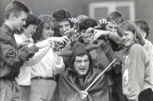 1989 Steve Davis is dressed up as the Devil for a Road Safety flm with kids from Maltby Comprehensive School in Rotherham