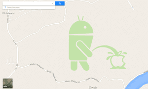 One Map Maker user pictured the Android robot urinating on the Apple logo outside Rawalpindi in Pakistan.