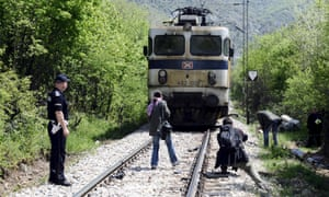 Migrants train crash Macedonia