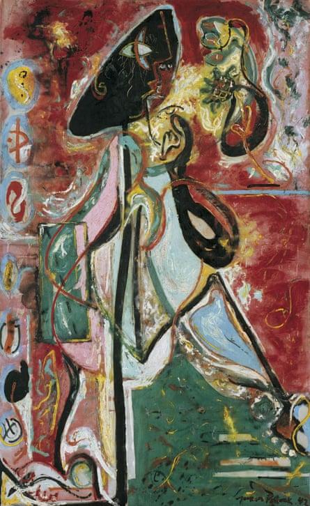 Jackson Pollock's painting The Moon Woman, 1942.