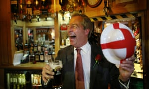 Ukip leader Nigel Farage celebrates St George's Day with a pint in the Northwood Club after meeting veterans on April 23, 2015 in Ramsgate, England.