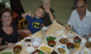Michael Booth and family enjoy a meal in Okinawa