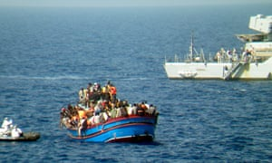 Migrants being rescued by the Italian navy.