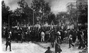 Armenian Genocide: Armenians hanged from tripods in 1915.