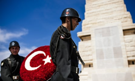 Turkish Army soldiers rehearse their movements at at the Helles Memorial prior to the service