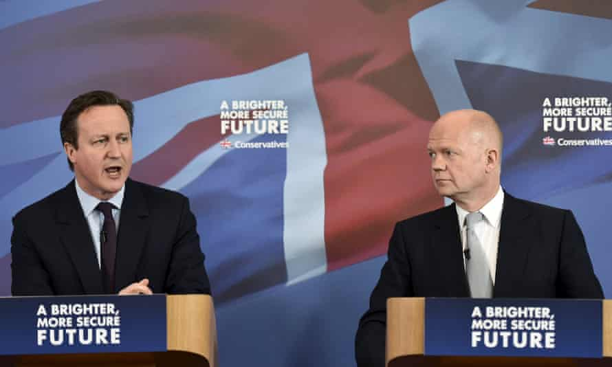 David Cameron and William Hague at the campaign rally in Lincolnshire.