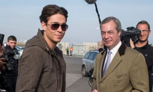Nigel Farage gets distracted by reality TV star Joey Essex while campaigning on Grimsby docks.