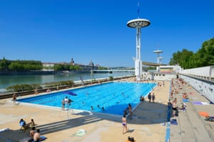 Open-air swimming pool on the Quai Claude Bernard by the river Rhône river