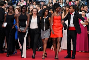 Girlhood director Celine Sciamma, centre, and cast members on the red carpet at Cannes.