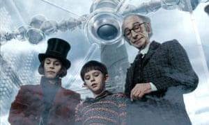 Willy Wonka, Charlie Bucket and Grandpa Joe in the great glass elevator