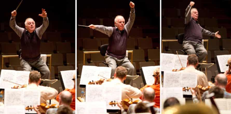 Barenboim rehearsing with the Staatskapelle Berlin at the Royal Festival Hall, London, 20 April 2015.