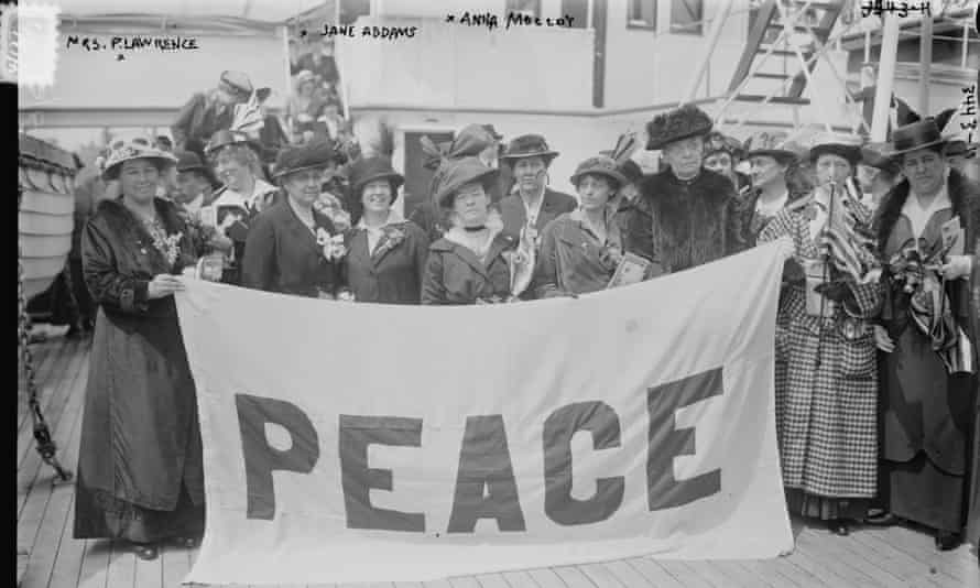 US delegates en route to the International Congress of Women in 1915. The meeting spawned the Women's International League for Peace and Freedom, of which Jane Addams (third left) became president.