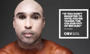 "Campbell with his face powdered to ""whiten up"" for the Operation Black Vote campaign."