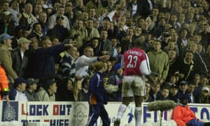 Campbell is abused by Spurs fans at an Arsenal-Spurs match.