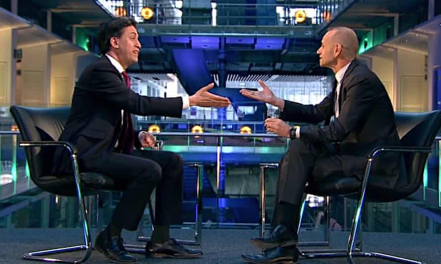 Ed Miliband being interviewed by Evan Davis on Newsnight.