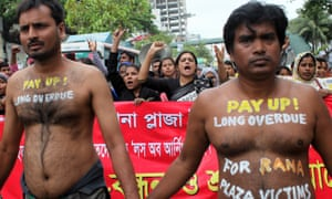 Protestors in Dhaka, Bangladesh, on Friday demand compensation for victims of the Rana Plaza building collapse during the second anniversary of the tragedy that killed 1,129. Industry reforms, too, have been slow in coming.