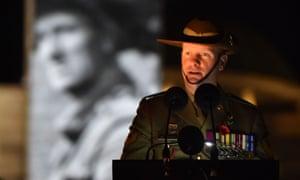 Corporal Dan Keighran VC speaks during the dawn service at the Australian War Memorial.