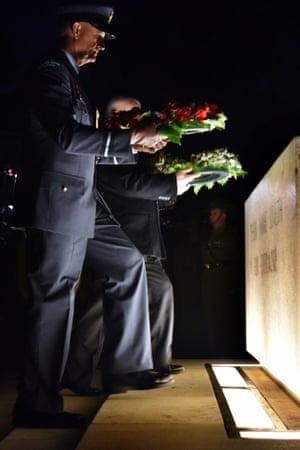 Wreaths are laid by Air Commodore Shaun Clarke of the New Zealand Air Force left and veteran Peter Eveille.