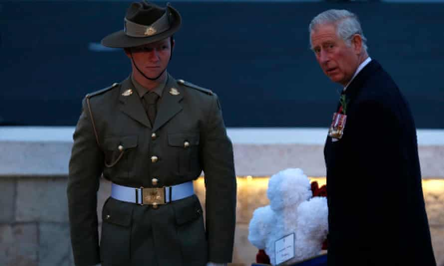 Prince Charles lays a wreath during the dawn service at Anzac Cove.