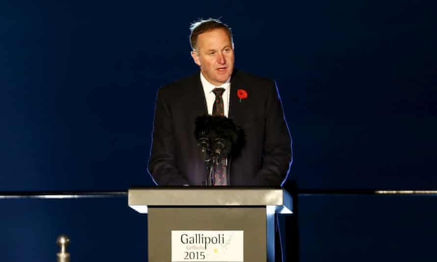 John Key addresses attendees of the dawn ceremony.