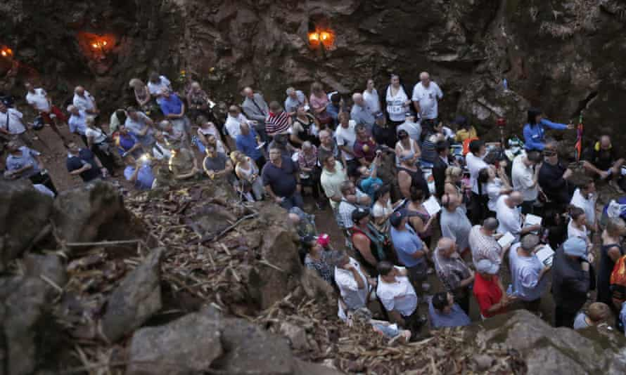 People gather for Anzac Day in Hellfire Pass,  Kanchanaburi province, west of Bangkok, Thailand, on the route of the Thai-Burma railway.